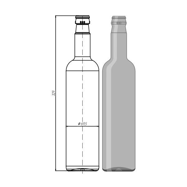 "Стекло тара 015-КПМ - 30-700мл ""Wodka Bottle"""