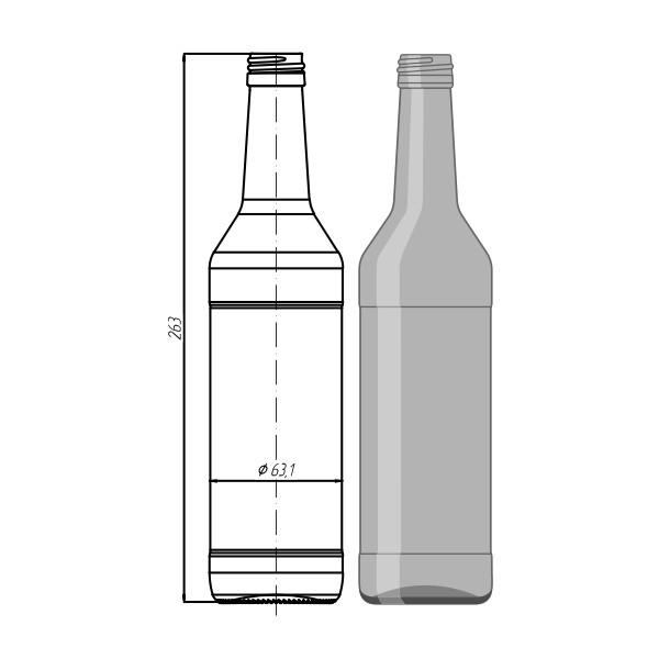 "Стеклотара N033-B28-1-450ml ""Wodka Bottle"""