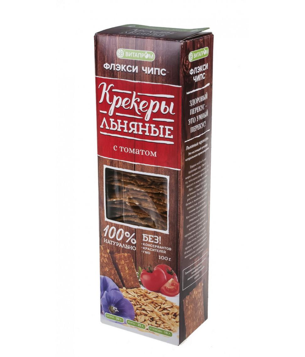 """Крекеры льняные натуральные """"Флэксичипс"""" вкус Томаты 100 г"""
