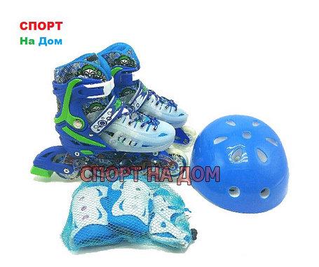 Роликовые коньки MIQI SKY набор (синие-размер 34-38) M, фото 2