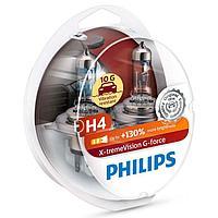 Галогеновые лампы Philips H4 X-tremeVision G-force +130% 10G виброустойчивые лампы (пласт. бокс) 2 шт.