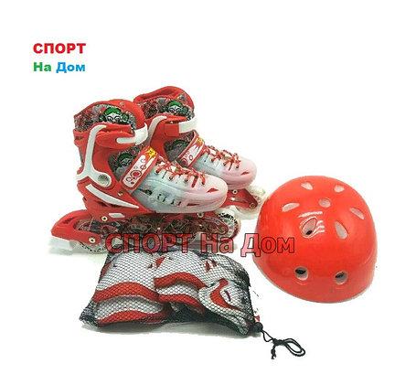 Роликовые коньки MIQI SKY набор (красные-размер 29-33 ) S, фото 2