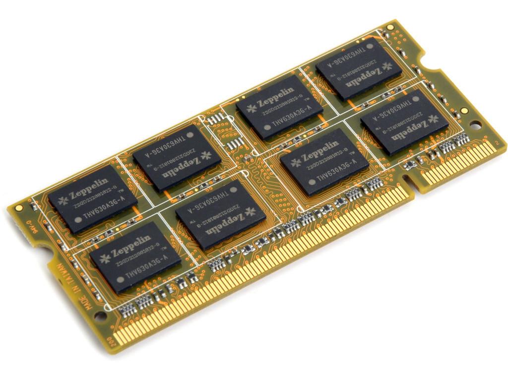 Оперативная память SODIMM DDR3 PC-12800 (1600 MHz)  4Gb Zeppelin  (память для ноутбуков) <256x8, Gold PCB>