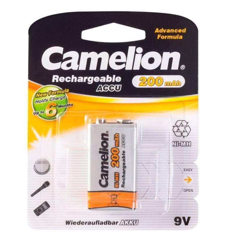 Аккумуляторная батарейка Camelion крона NH-9V200BP1, Rechargeable, Lockbox Rechargeable, 6F22, 9V, 200 mAh (1 шт.)