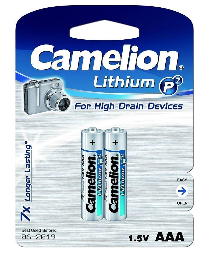 Батарейка Camelion FR03-BP2, Lithium P7, AAA, 1.5V, 1250 mAh (2 шт.)