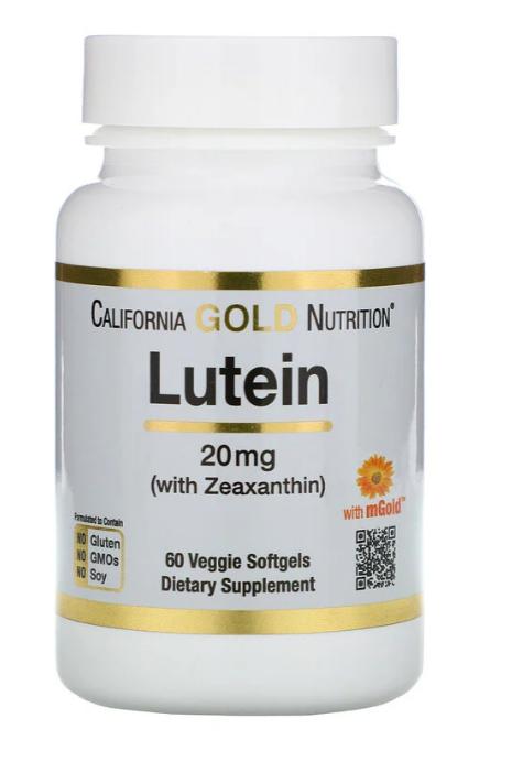 California Gold Nutrition, Лютеин с зеаксантином, 20 мг, 60 растительных мягких таблеток