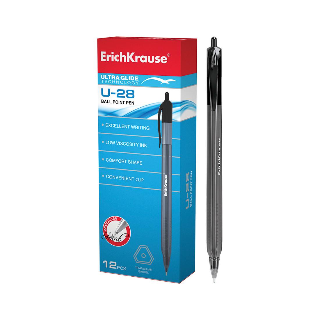 Ручка шариковая автоматическая ErichKrause U-28 Ultra Glide Technology (Черный)