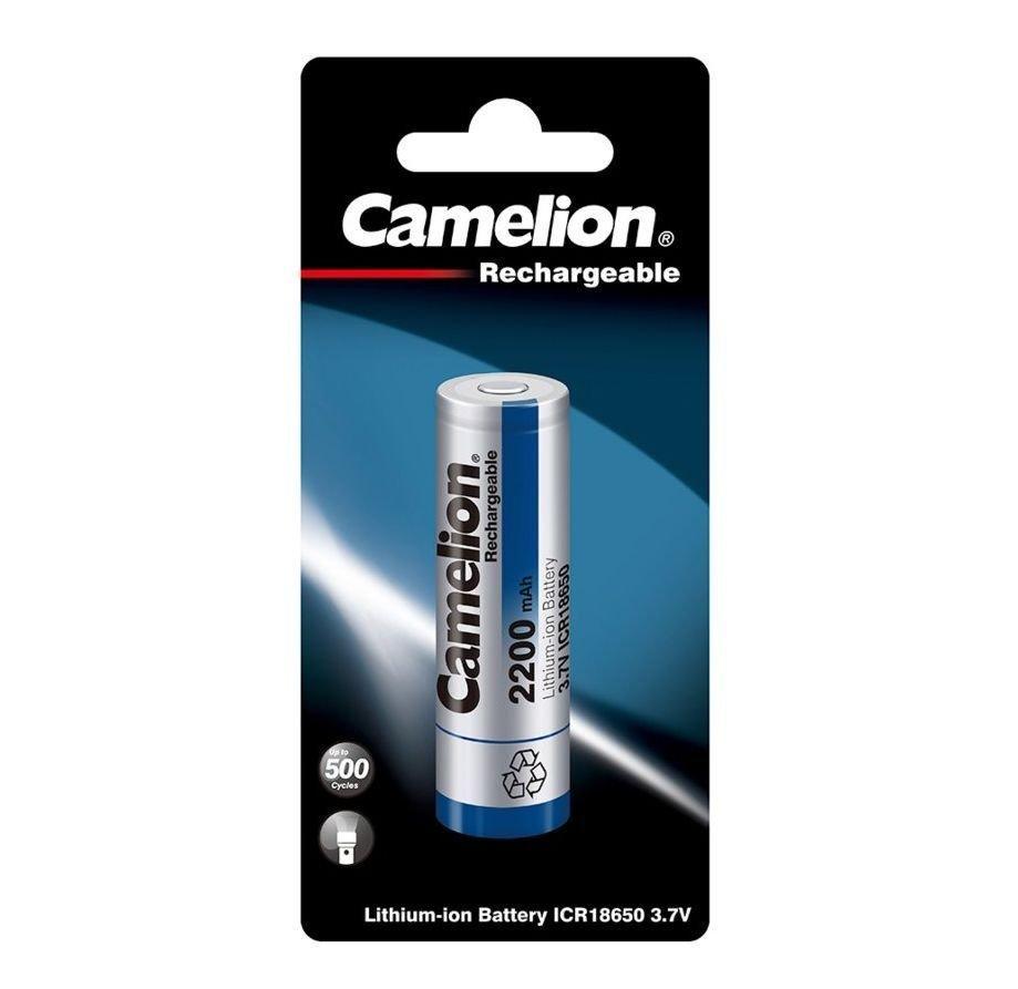 Аккумуляторная батарейка Camelion ICR18650BP1, Lithium, 3,7V, 2200 mAh (1 шт.)