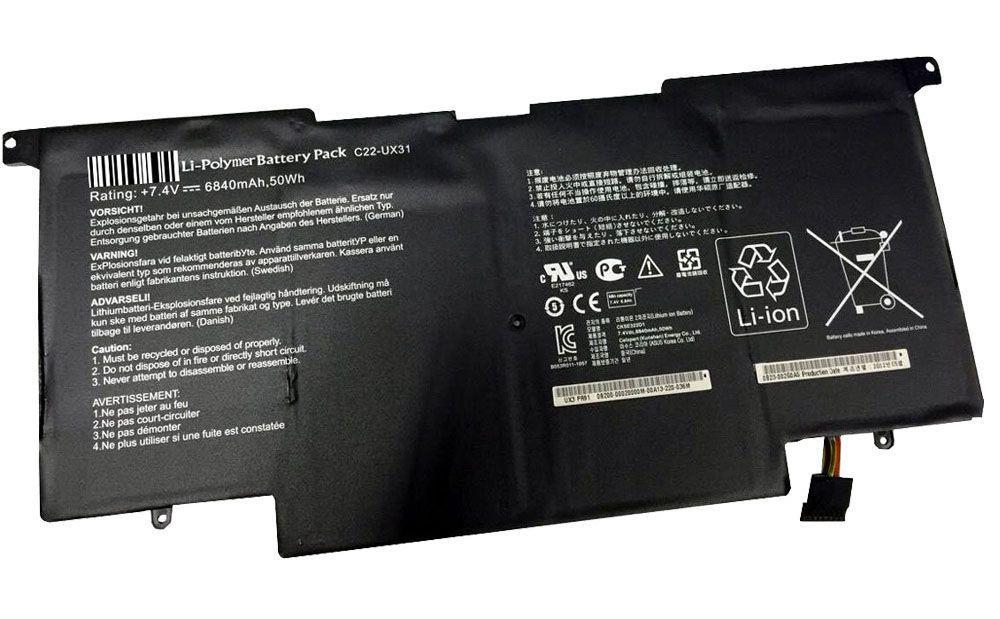 Батарея для ноутбука Asus Zenbook UX31, UX31E, C22-UX31 (7.4V, 6840 mAh) Original