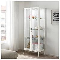 МИЛЬСБУ Шкаф-витрина, белый, 73x175 см, фото 1