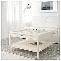 ЛИАТОРП Журнальный стол, белый, стекло, 93x93 см, фото 1