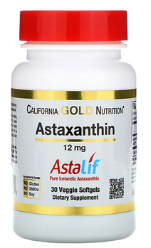 California Gold Nutrition, Астаксантин, чистый исландский продукт AstaLif, 12 мг, 30мягких таблеток
