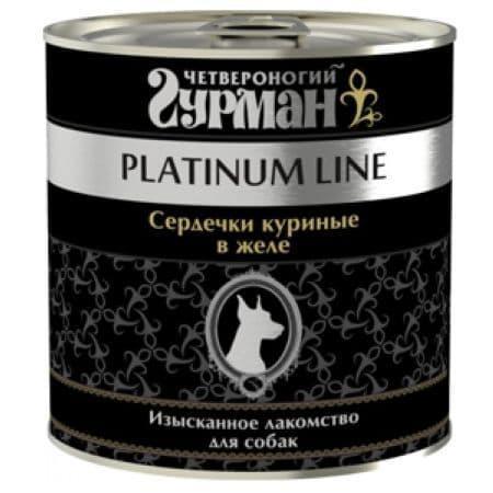 Консерва Гурман Platinum для взрослых собак (Сердечки куриные в желе) - 240 г