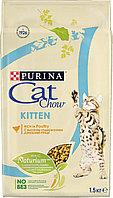Cat Chow Kitten 1.5кг для котят с курицей сухой корм Кэт Чау