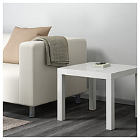 ЛАКК Придиванный столик, глянцевый белый, 55x55 см, фото 1
