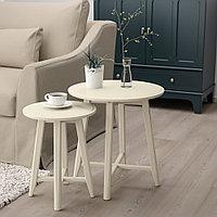 КРАГСТА Комплект столов, 2 шт, светло-бежевый, фото 1