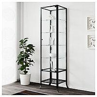 КЛИНГСБУ Шкаф-витрина, черный, прозрачное стекло, 45x180 см, фото 1