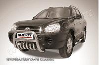 Кенгурятник низкий d76 с защитой картера Hyundai Santa Fe 2001-06
