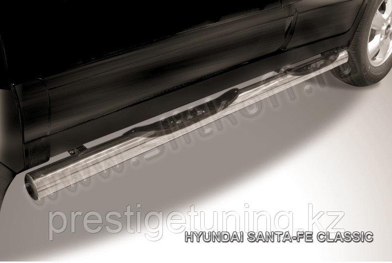 Защита порогов d76 с проступями Hyundai Santa Fe 2001-06