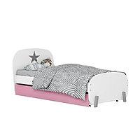Кровать детская Polini kids Mirum 1915 c ящиком белый/розовый, фото 1