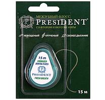 President Межзубная нить President невощеный (со фтором и мятой)