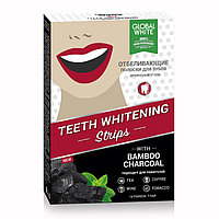 Global White Отбеливающие полоски для зубов. Древесный уголь
