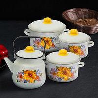 Набор посуды 'Уралочка', 4 предмета кастрюли 2 л, 3 л, 4 л, чайник 3,5 л
