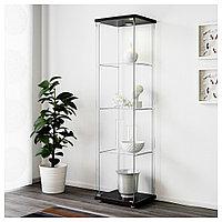 ДЕТОЛЬФ Шкаф-витрина, черно-коричневый, 43x163 см, фото 1