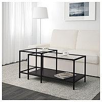 ВИТШЁ Комплект столов, 2 шт, черно-коричневый, стекло, 90x50 см, фото 1