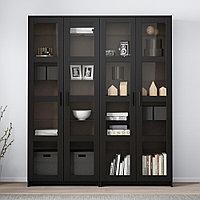 БРИМНЭС Комбинация д/хранения+стекл дверц, черный, 160x35x190 см, фото 1
