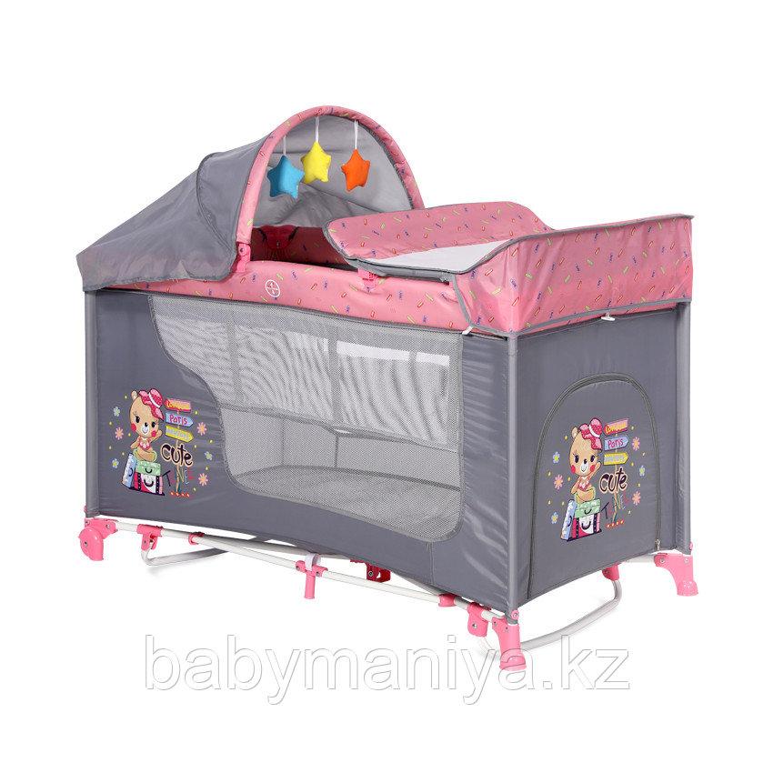 Манеж - кровать Lorelli MOONLIGHT 2 rocker Розовый / Pink TRAVELLING 2046