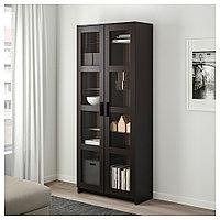 БРИМНЭС Шкаф-витрина, черный, 80x190 см