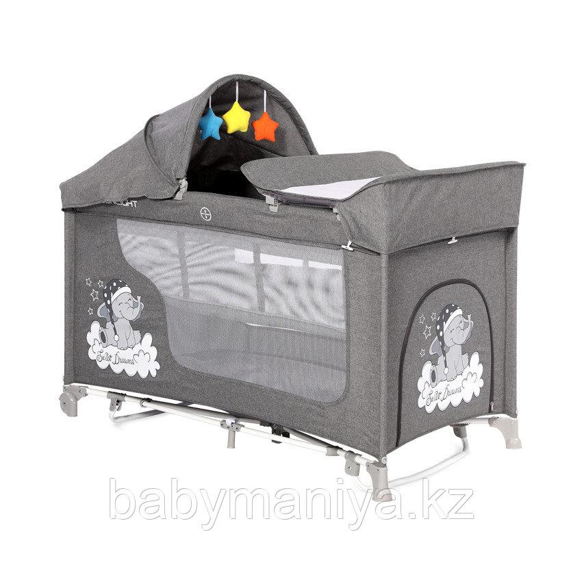 Манеж - кровать Lorelli MOONLIGHT 2rocker Серый / Grey CUTE MOON 2070