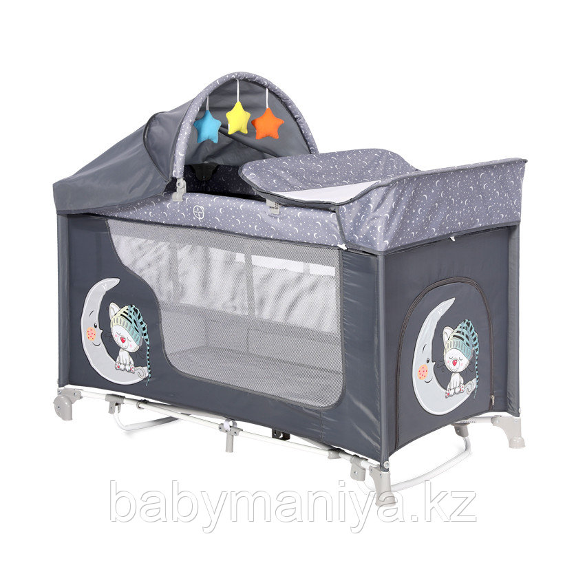 Манеж - кровать Lorelli MOONLIGHT 2rocker Серый / Grey Luxe 2068
