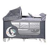 Манеж - кровать Lorelli MOONLIGHT 2rocker Серый / Grey Luxe 2068, фото 2