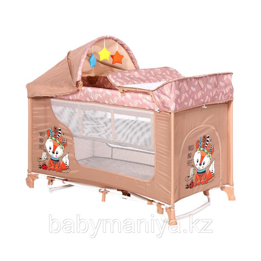Манеж - кровать Lorelli MOONLIGHT 2 rocker Бежевый / Beige  Foxy 2042