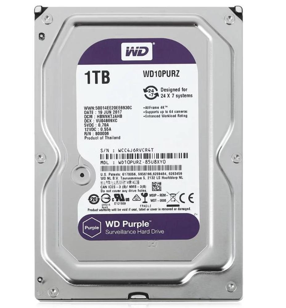 "Жёсткий диск HDD 1 Tb SATA 6Gb/s Western Digital Purple 3.5"" 5400rpm 64Mb"
