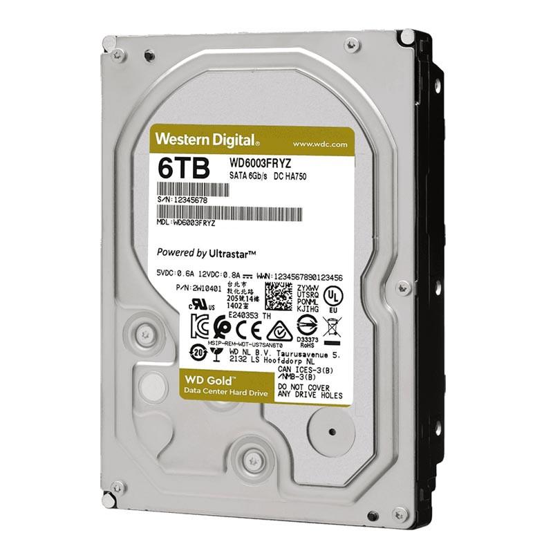 Жесткий диск HDD 6Tb SATA 6Gb/s Western Digital Gold , 7200rpm, 128Mb