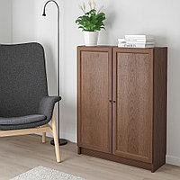 БИЛЛИ / ОКСБЕРГ Стеллаж с дверьми, коричневый ясеневый шпон, 80x30x106 см, фото 1