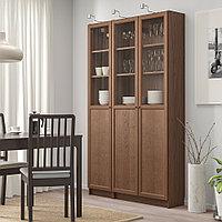 БИЛЛИ / ОКСБЕРГ Стеллаж/панельные/стеклянные двери, коричневый ясеневый шпон, стекло, 120x30x202 см, фото 1