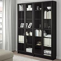 БИЛЛИ / ОКСБЕРГ Стеллаж, черно-коричневый, стекло, 160x30x202 см, фото 1