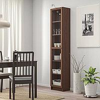 БИЛЛИ / ОКСБЕРГ Шкаф книжный со стеклянной дверью, коричневый ясеневый шпон, стекло, 40x30x202 см, фото 1