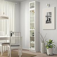 БИЛЛИ / ОКСБЕРГ Шкаф книжный со стеклянной дверью, белый, стекло, 40x30x237 см, фото 1