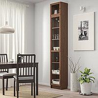 БИЛЛИ / ОКСБЕРГ Шкаф книжный со стеклянной дверью, коричневый ясеневый шпон, стекло, 40x30x237 см, фото 1