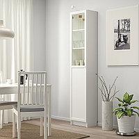 БИЛЛИ / ОКСБЕРГ Стеллаж/панельная/стеклянная дверь, белый, стекло, 40x30x202 см, фото 1