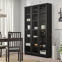 БИЛЛИ / ОКСБЕРГ Шкаф книжный со стеклянными дверьми, черно-коричневый, 120x30x202 см, фото 1
