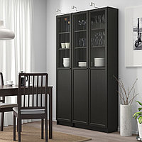 БИЛЛИ / ОКСБЕРГ Стеллаж/панельные/стеклянные двери, черно-коричневый, стекло, 120x30x202 см, фото 1