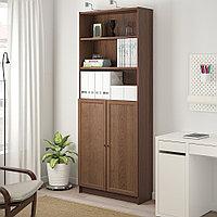 БИЛЛИ / ОКСБЕРГ Стеллаж с дверьми, коричневый ясеневый шпон, 80x30x202 см, фото 1
