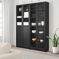 БИЛЛИ / ОКСБЕРГ Стеллаж/панельные/стеклянные двери, черно-коричневый, стекло, 160x30x202 см, фото 1