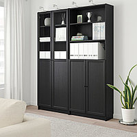 БИЛЛИ / ОКСБЕРГ Стеллаж/панельные/стеклянные двери, черно-коричневый, 160x30x202 см, фото 1